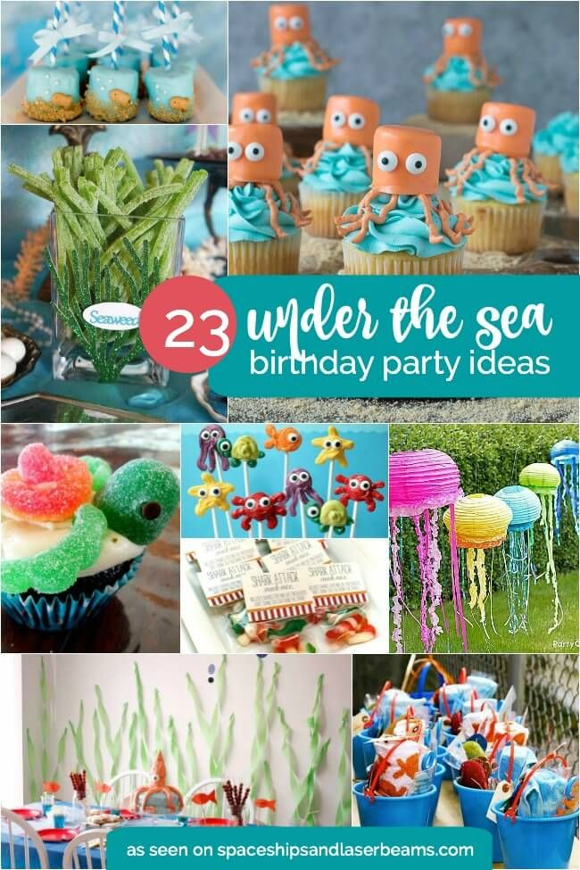 More than 20 ideas for beach, ocean or under the sea birthday party ideas.  Fish, jellyfish, turtles, favors and more!