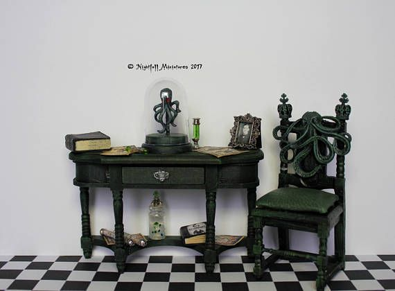 Dollhouse Miniature H P Lovecraft Cthulhu inspired cabinet and