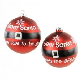 "4""GLSS SANTA MESSAGE BALL ORN"