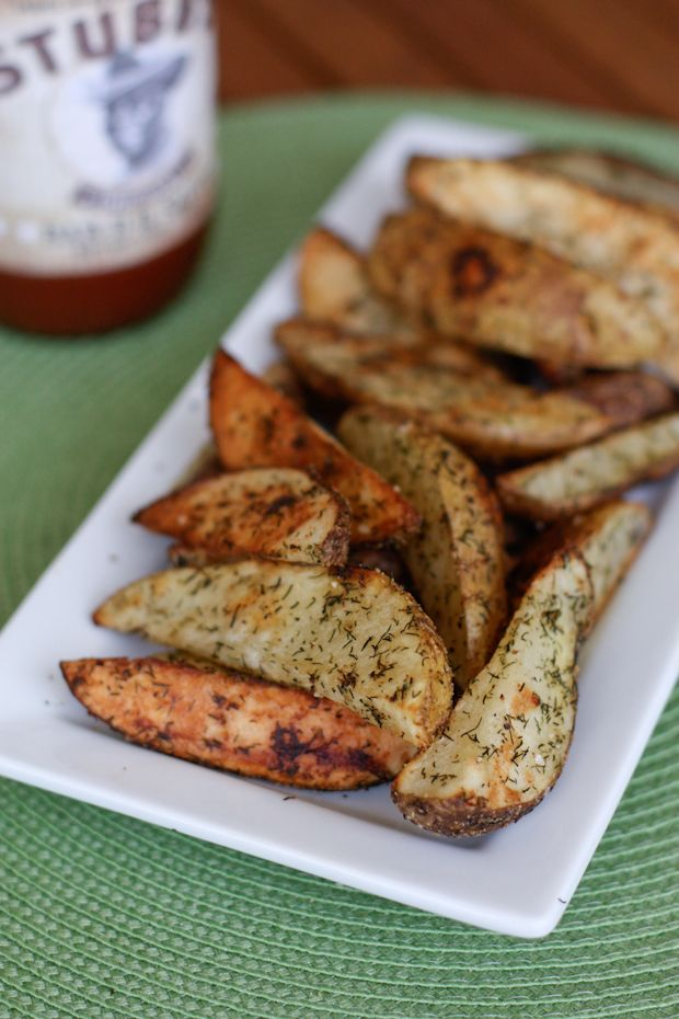 Roasted Dill Potato Wedges - 6 -8 med russet potatoes, cut into wedges evenly, 2 tsp dried dill, 1 1/2 teaspoons dried onion powder, pinch of salt and pepper, 2 Tbsp grapeseed or canola oil. Heat oven to 425. Combine potato wedges with dill, onion powder, salt, pepper and oil. Gently toss and coat your potatoes. Place on large baking sheet. Bake 25 - 30 minutes, turning for even cooking.