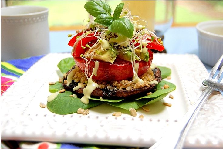toasted quinoa vegetable stacks with green goddess dressing via one green planet