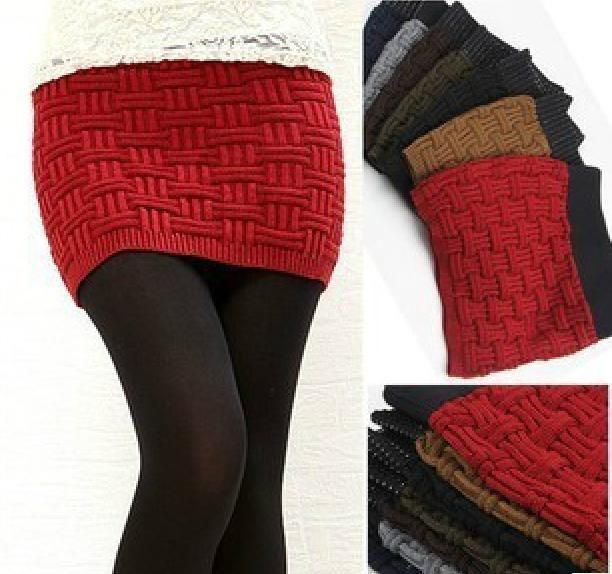 knitted girls skirts | package buttocks skirts knit wool skirt mini Autumn Women Skirts-in ...