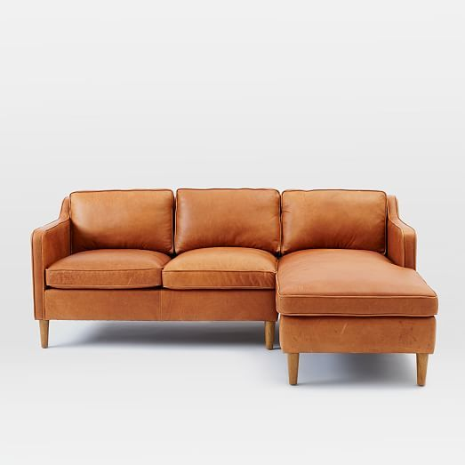 Hamilton 2 Piece Leather Chaise Sectional West Elm 81 Quot W