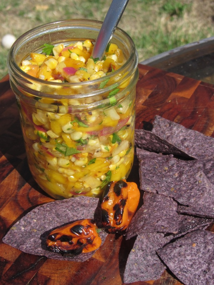 Grilled Habanero Salsa with Mango, Pineapple, Corn and Red Onion - sweet, spicy and delicious!