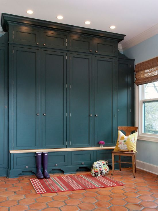 Closet cabinet painted in Benjamin Moore River Blue