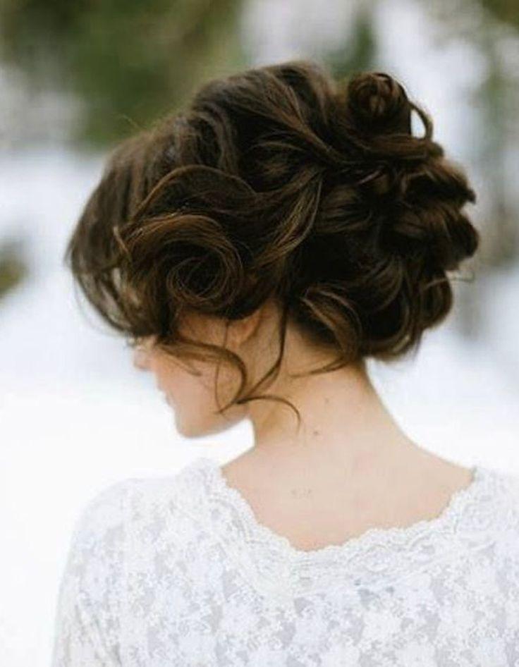 Chignon de mariée brune