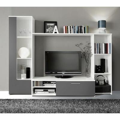 220x41.3x177 cm - Composition murale - Colonne et bibliothèque intégrées - Étagères - Poignées effet aluminium - Fabrication européenne