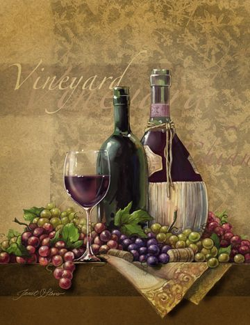 Wine art, Italian wine art, wine paintings by noted American artist Janet Stever.