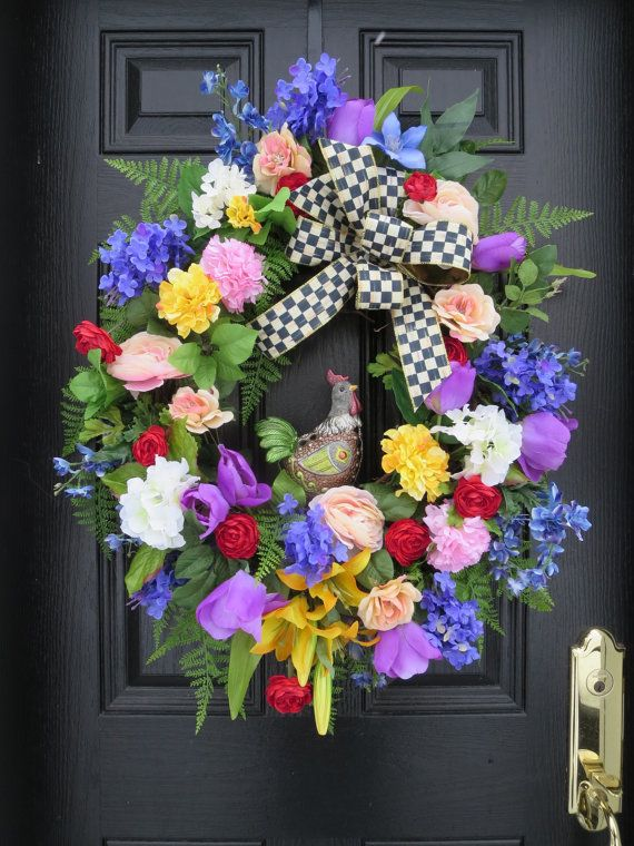 Spring Summer Wreath Mother's Day Wreath by hollyhillwreaths