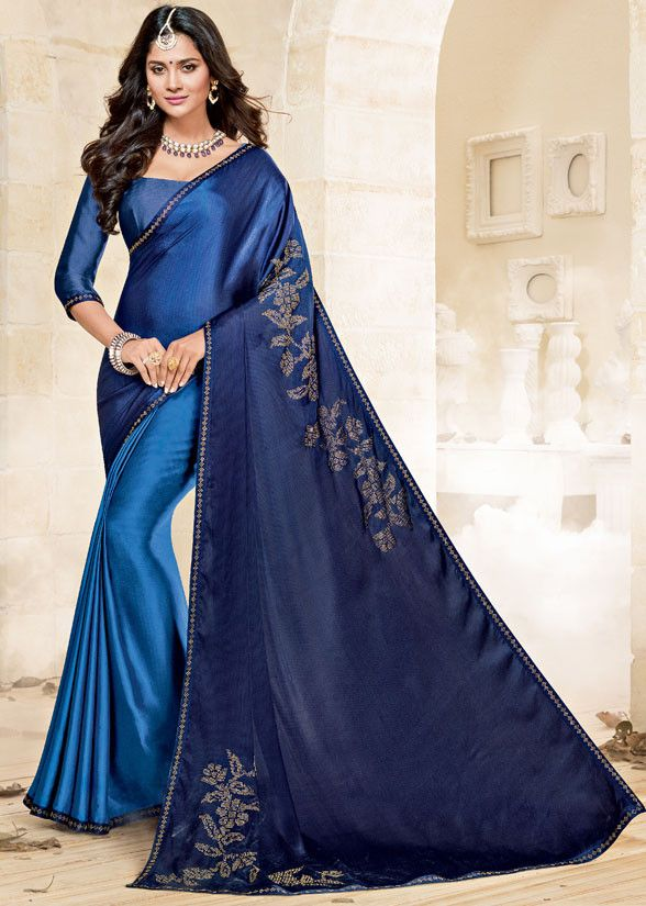 302f2904c8 Royal Blue and Navy Blue Satin Silk Saree Buy Sarees Online, Saree  Collection, Blouse