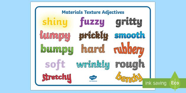 Materials Texture Adjectives Word Mat - materials, texture
