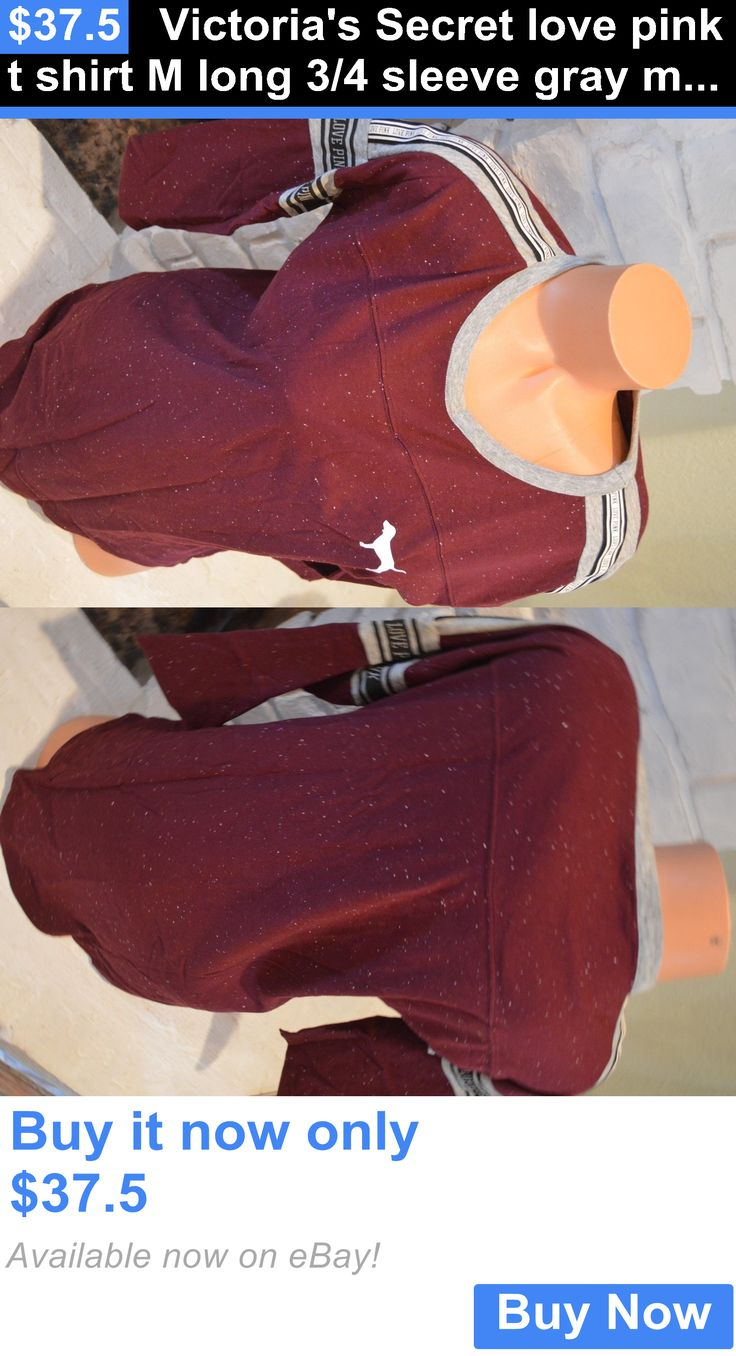 Women T Shirts: Victorias Secret Love Pink T Shirt M Long 3/4 Sleeve Gray Maroon Logo BUY IT NOW ONLY: $37.5