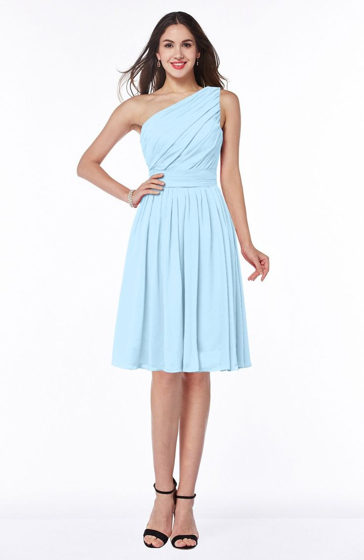 Ice Blue Bridesmaid Dress - Simple A-line One Shoulder Chiffon Knee Length Plus Size