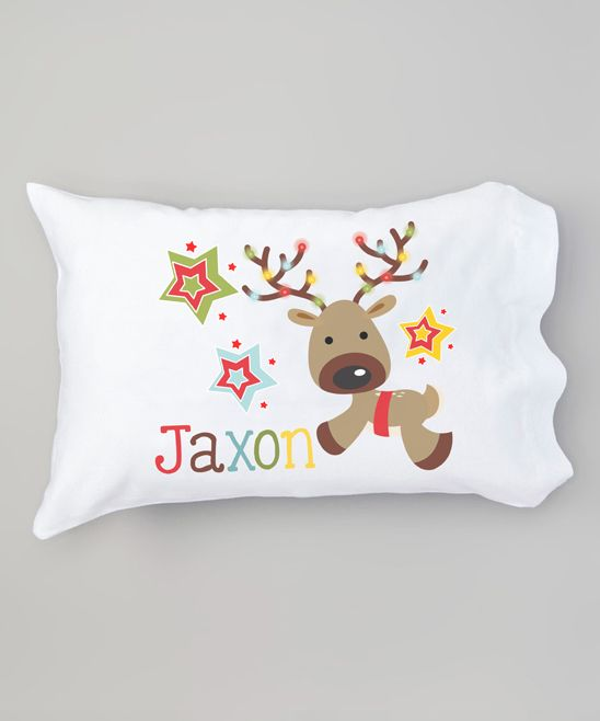 White Reindeer Lights & Stars Personalized Pillowcase