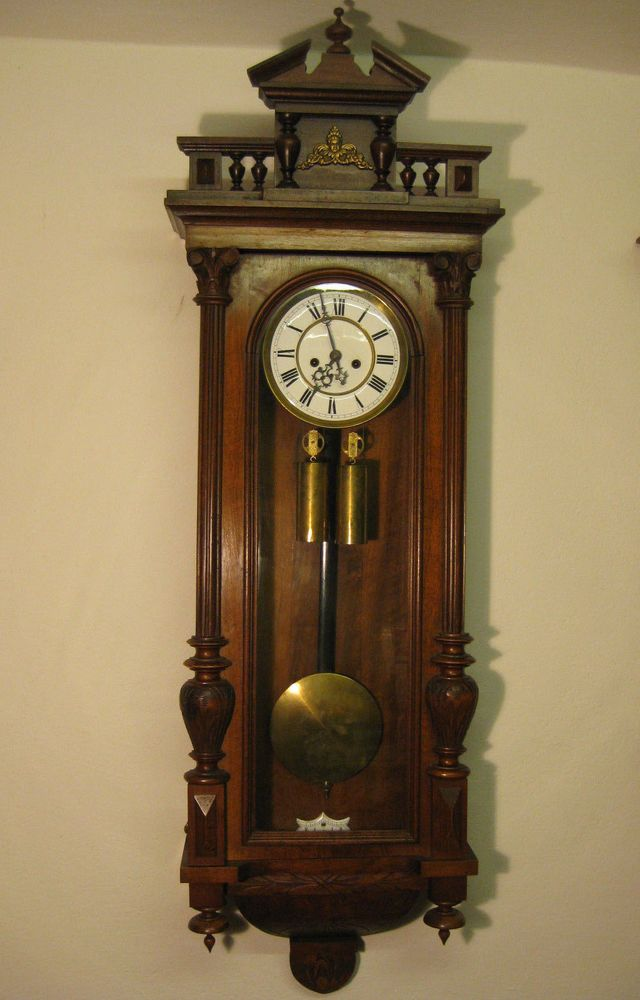 Antique German Gustav Becker Wall Clock 2 Weight