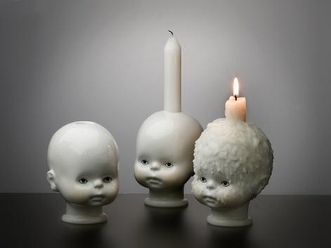 weirdCreepy, Baby Head, Dolls Head, Candle Holders, Candles Holders, Interiors Design, Baby Dolls, Halloween Decor Ideas, Head Candles