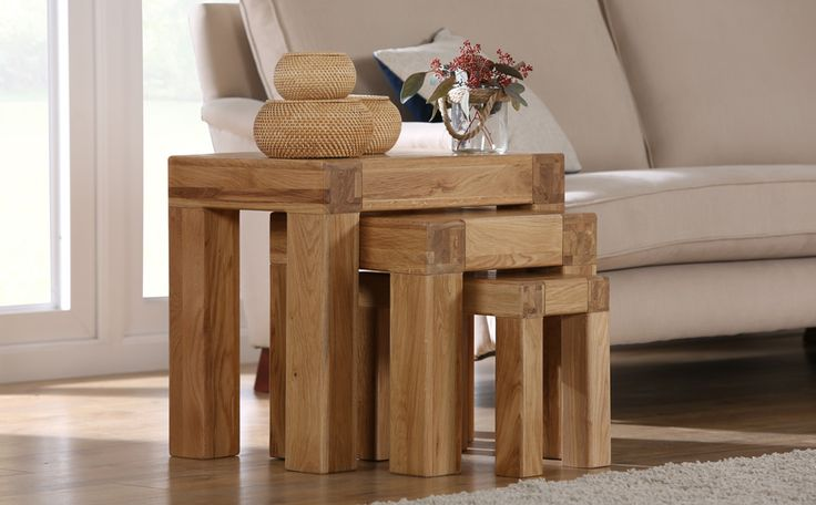 Portland Oak Nest Of Tables Only £229.99 | Furniture Choice
