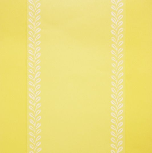 Wallpaper in bright yellow with leaf motif in stripe