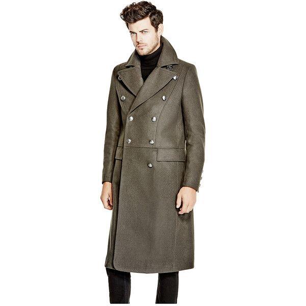 GUESS Tomlin Melange Wool Coat (€87) ❤ liked on Polyvore featuring men's fashion, men's clothing, men's outerwear, men's coats, mens long coat, guess mens coats, mens wool coats, mens wool outerwear and mens long wool coat