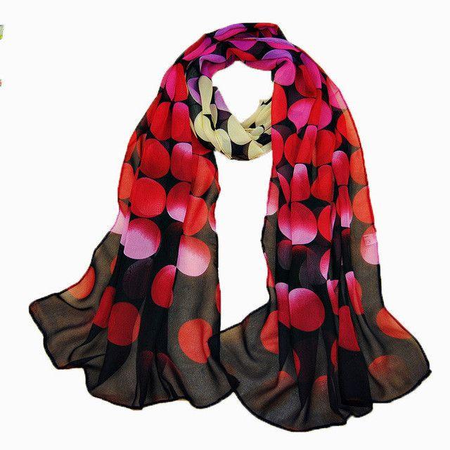 Spring and autumn chiffon polka dot scarf