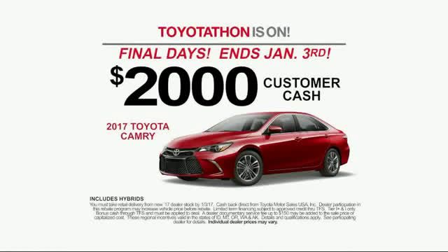 AbanCommercials: Toyota TV Commercial  • Toyota advertsiment  • The 2017 You've Been Wis - Toyotathon Sales Event • Toyota The 2017 You've Been Wis - Toyotathon Sales Event TV commercial • During the Toyotathon event at Toyota, qualified customers can receive bonus cash incentives and special leasing options on select Toyota models for a limited time • Get The 2017 Toyota You've Been Dreaming Of During Toyotathon Sales Event • Final Days Of Sale Now On, Hurry In, Must End Soon