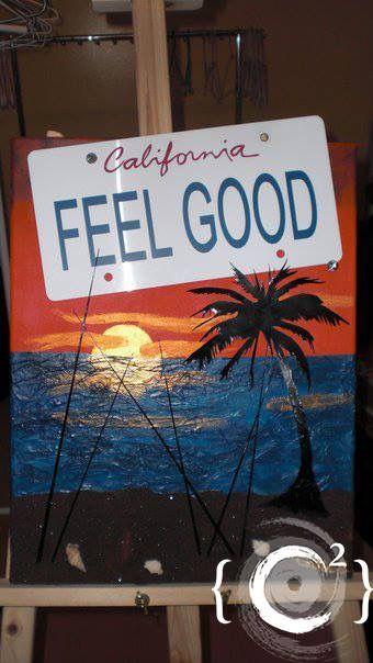 """California Feel Good"" Mixed Media painting by Catie Corbin www.catiecorbin.com https://facebook.com/catiecorbin.graphiste/"