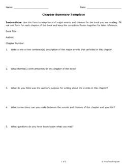 Chapter Summary Template - A Printable From Help Teaching