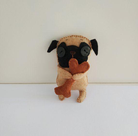 Pug Felt Doll In Box Handmade Small Pug Dog Toy Miniature Pug
