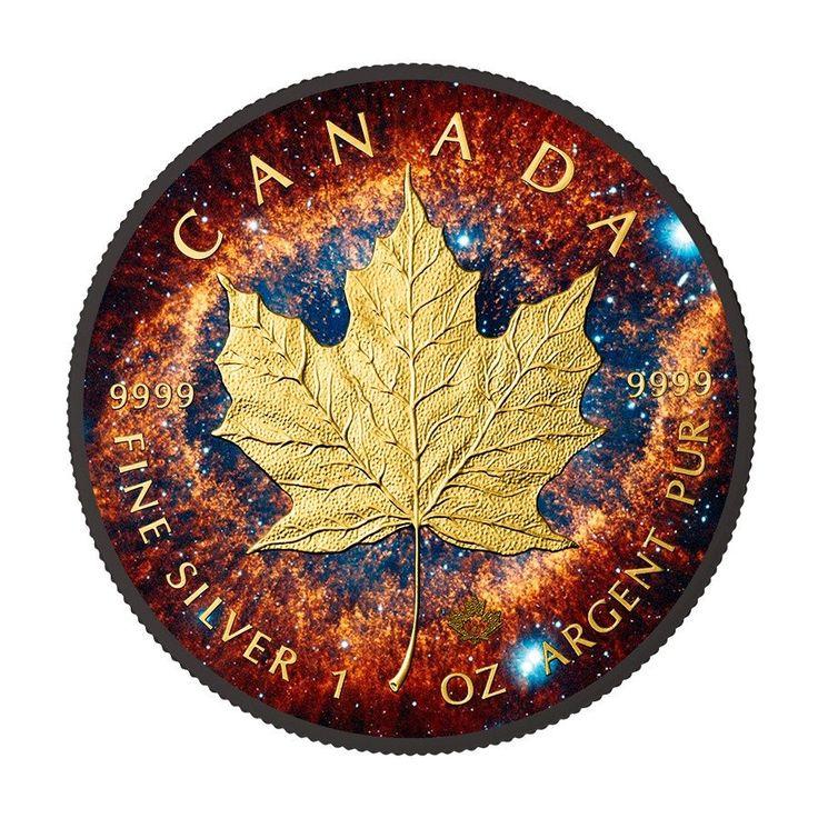 2016 1 Ounce Helix Nebula Maple Leaf Ruthenium & 24K Gold Silver Coin – ArtInCoins