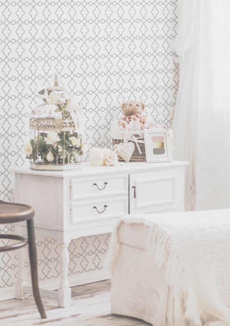 Delicate Moroccan Removable Wallpaper for bedroom or nursery interior