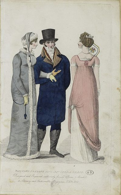Two ladies and a gentleman. Le beau monde 1808