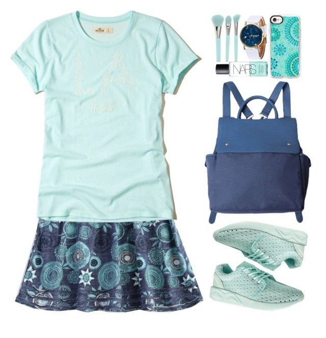 """""""Casual"""" by beebeely-look ❤ liked on Polyvore featuring Hollister Co., Forever 21, Casetify, NARS Cosmetics, casual, monochrome, school, sneakers and twinkledeals"""