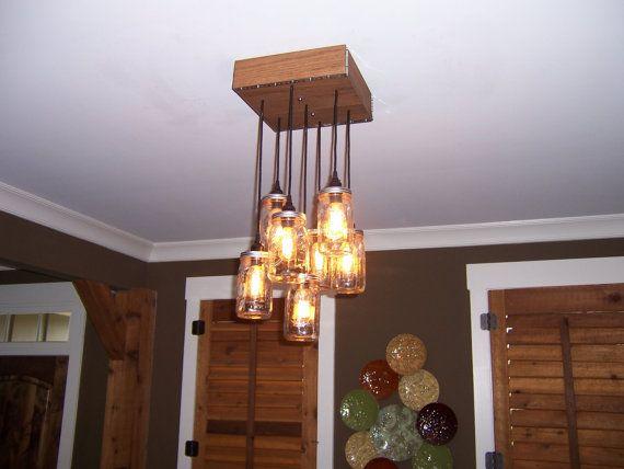 Solid Oak Mason jar chandelier di TheHoneydew su Etsy