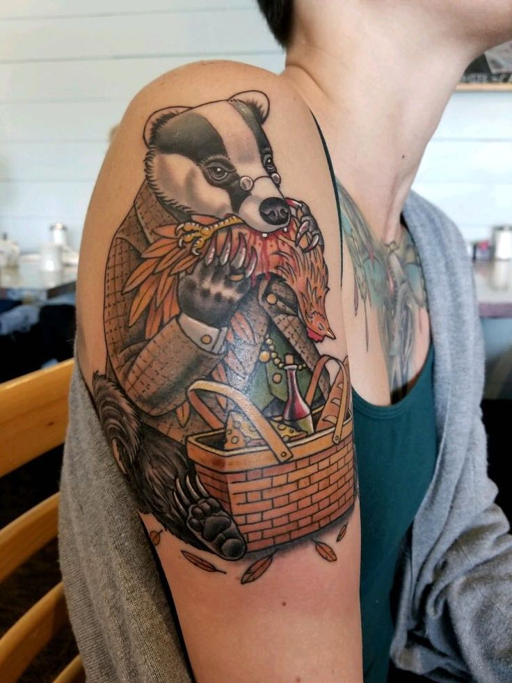 Mr. Badger having a picnic - by Nick Wallerstedt - Triple Crown Tattoo Austin TX