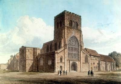 Shrewsbury Abbey.  The buildings on the right of the church were demolished to make way for the current road