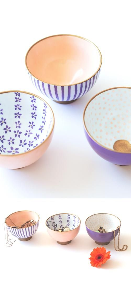 DIY Japanese printed bowls.  These would be fun to try!                                                                                                                                                                                 More