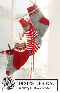 """Strikket DROPS kalendersokker til jul i """"Karisma"""" ~ DROPS Design"""
