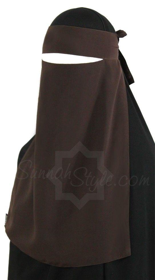1 layer niqaab Sunnahstyle brown - Hijab Now