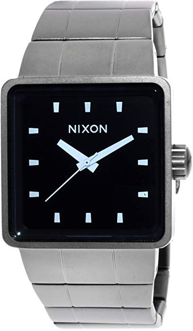 f58b1068d NIXON A013-1427-00 Men's Quatro, Analog Display Quartz Watch, Gunmetal Stainless  Steel Bracelet, Square, 36mm Case