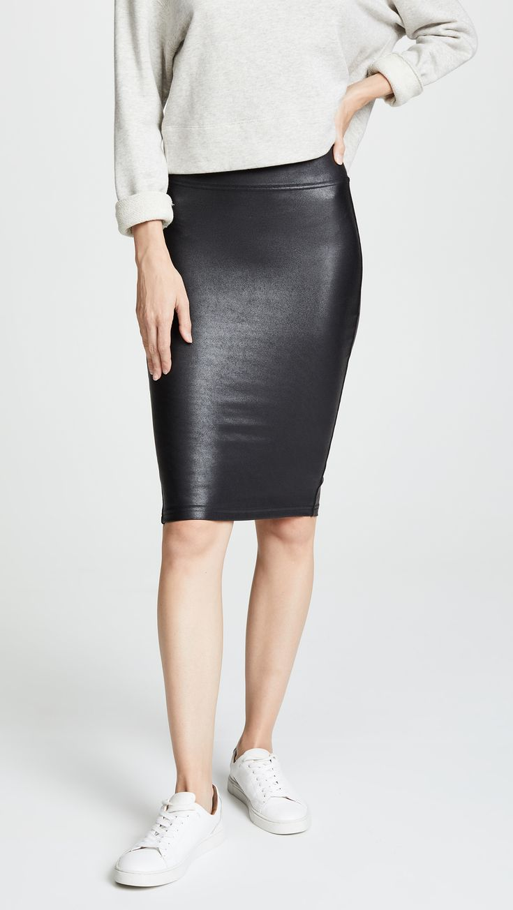 Faux Leather Pencil Skirt In 2019 Casual Outfits Faux