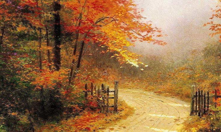 Thomas Kinkade Autumn Paintings | ... , дорога, лес, autumn lane, thomas kinkade, painting 800x480