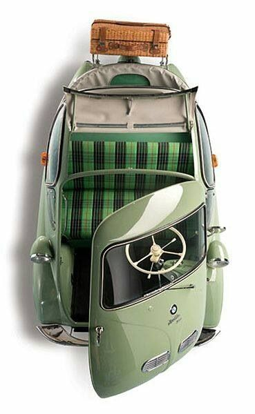 BMW Isetta 1956. The Smart Car of the 1950'S. At least back then they knew to make it a convertible so you weren't suffocating in there.