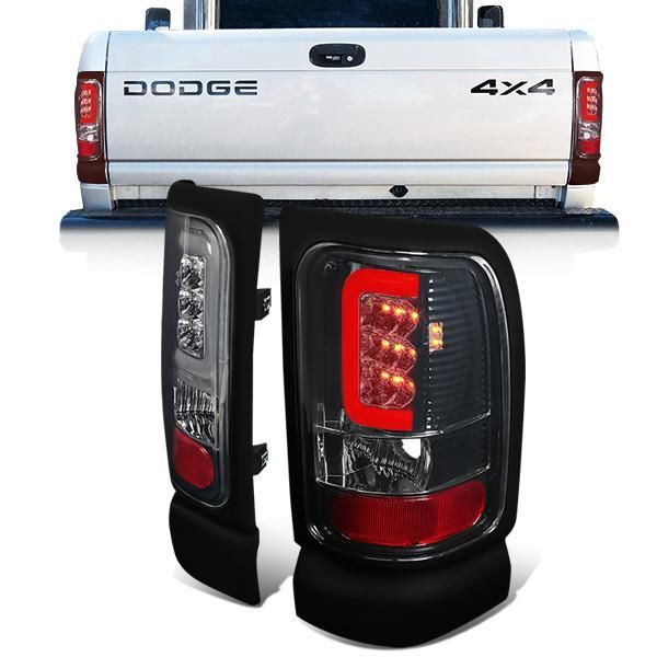 94 02 Dodge Ram 1500 2500 3500 Led C Bar Rear Brake Tail Lights Smoked Tail Light Ram 1500 Rear Brakes