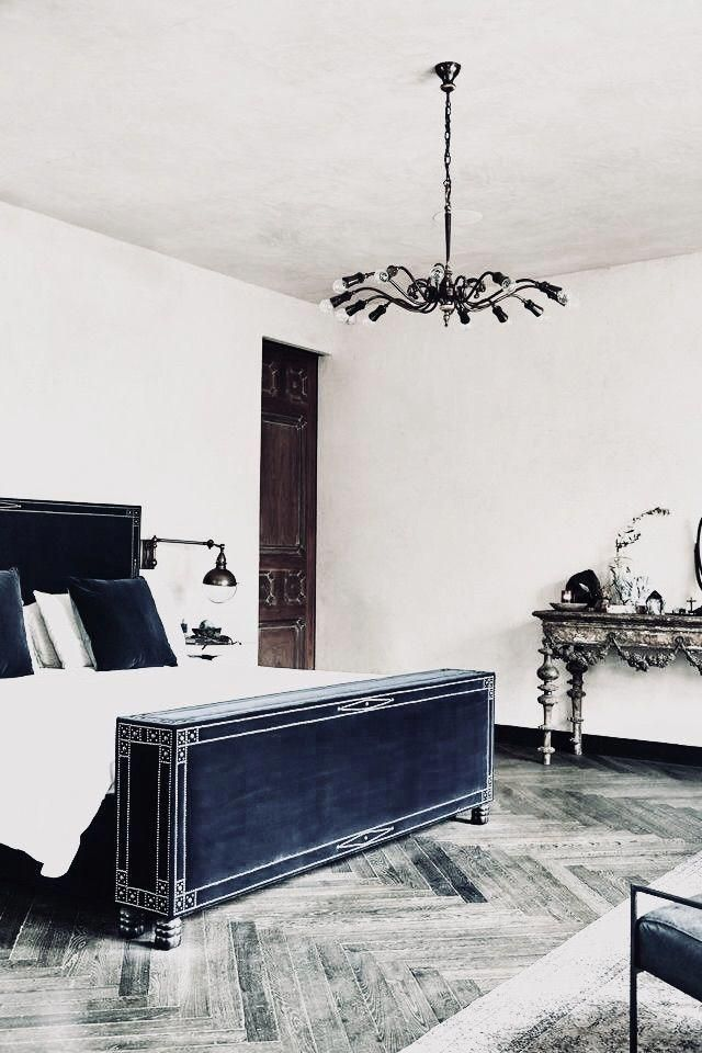 Simply Fab Love The Blue Suede Bed Frame The Grey Wood Floors