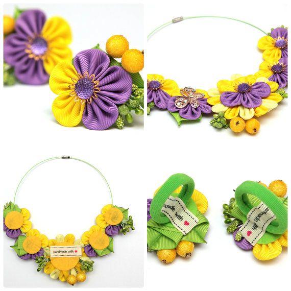 Collar de Kanzashi. Collar de flores de tela kanzashi púrpura