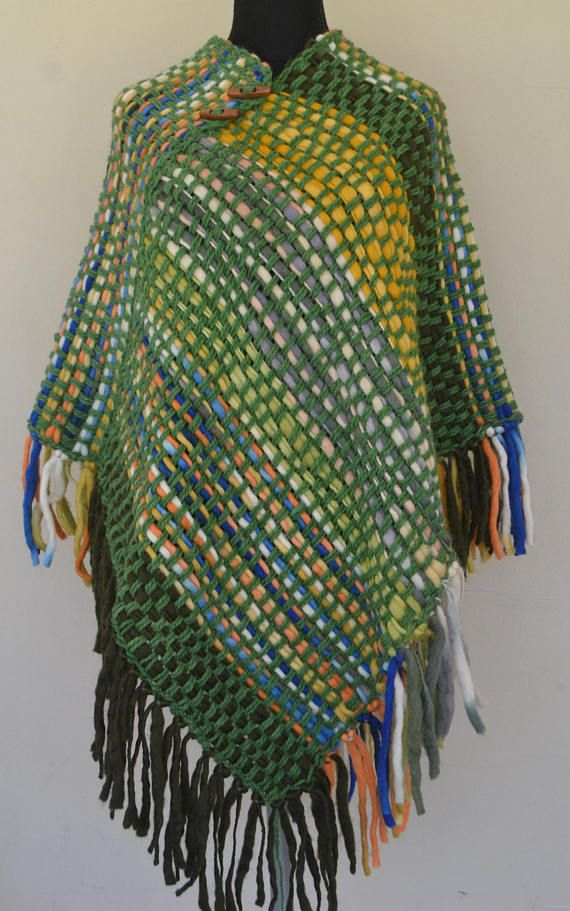 HandWoven Poncho/Wrapping shawl/women/fleece wooven