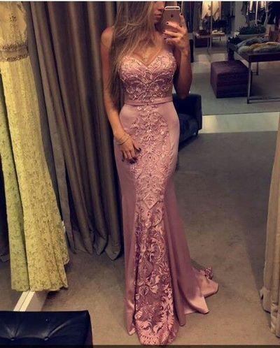Pink Prom Dresses,2017 Mermaid Prom Dresses,Lace Prom Dresses,Satin Prom Dresses,New Fashions Sexy Prom Dresses