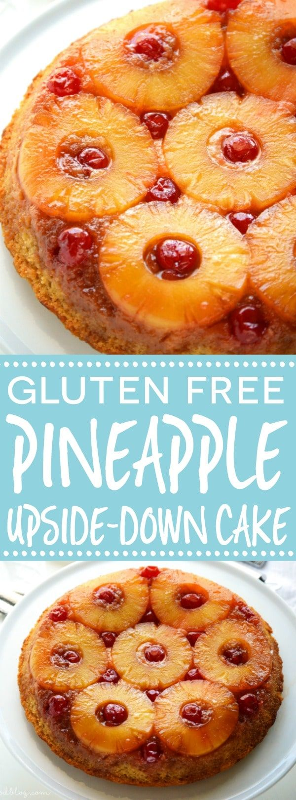 Easy and DELICIOUS gluten free pineapple upside-down cake! This recipe is a keeper and has gotten rave reviews! Easy gluten free dessert recipe from @whattheforkblog | whattheforkfoodblog.com | gluten free baking | the best gluten free recipes | highly ra
