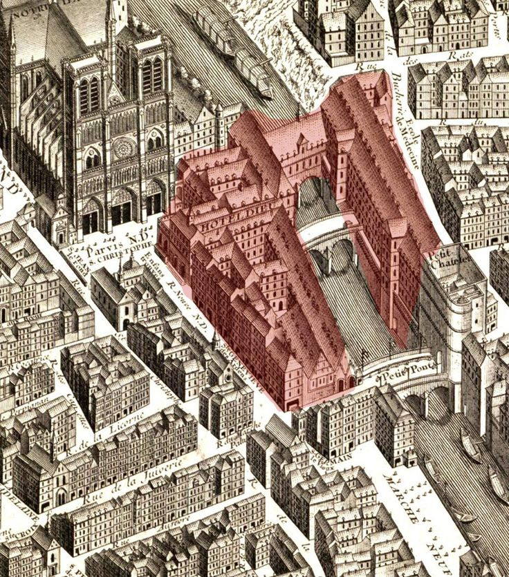 Paris Hotel Dieu - the red area was all demolished - see how little space there is in front of Notre Dame