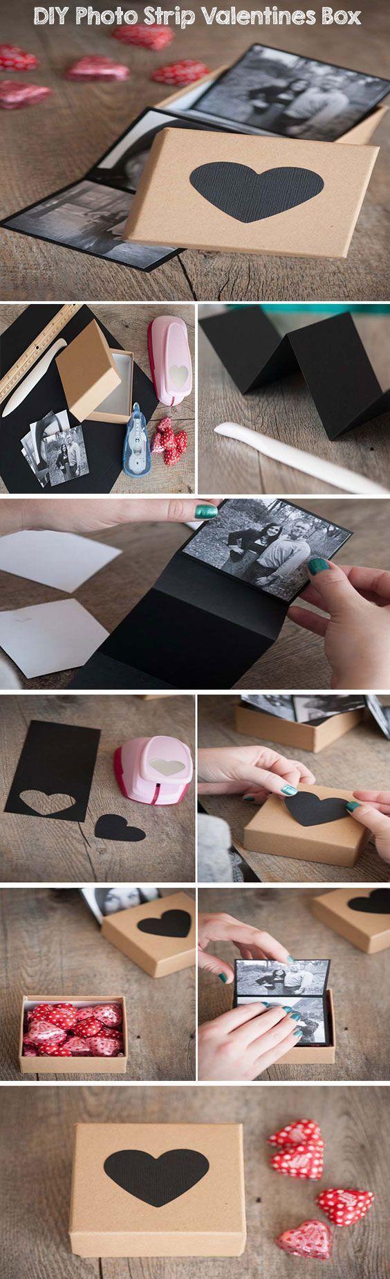 DIY Photo Strip Valentines Box For Your Boyfriend #girlfriendbirthdaygifts #boyfriendanniversarygifts